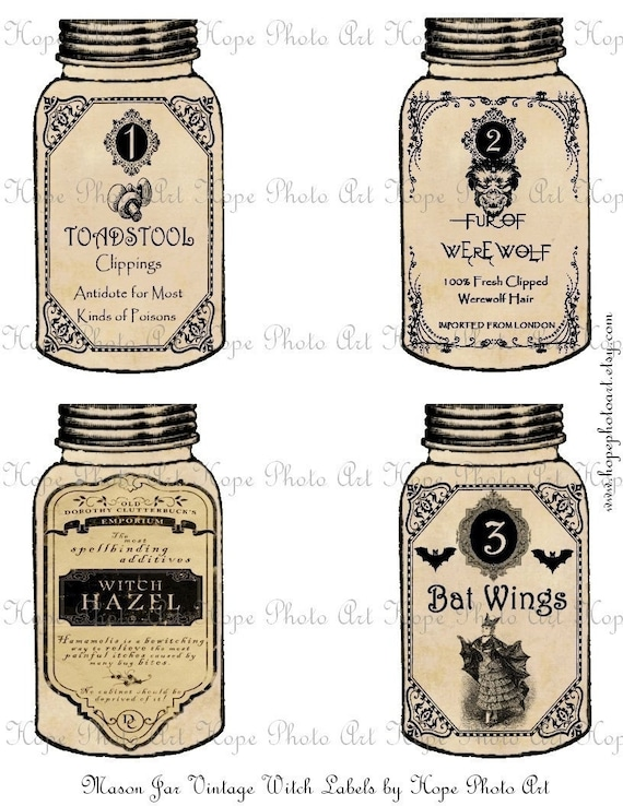 Halloween Mason Jar Potion Witch Labels - Witch Hazel Toadstool clippings Fur of Werewolf  Bat Wings ATC ACEO tags - U Print JPG 300dpi