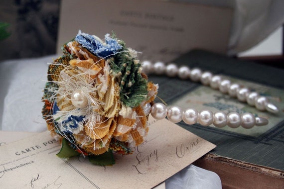 Yellow and Blue Spring Flower Pearl Headband Hair Fascinator