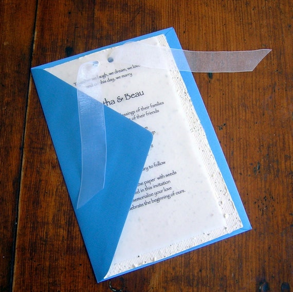DEPOSIT on CUSTOM DIY wedding invitations made from handmade plantable paper