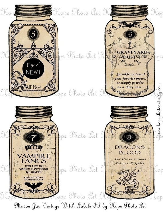 Halloween Mason Jar Witch Potion Labels II Tags - Eye of Newt Graveyard Dust Vampire Fangs Dragons Blood ATC ACEO - U Print 300dpi jpg