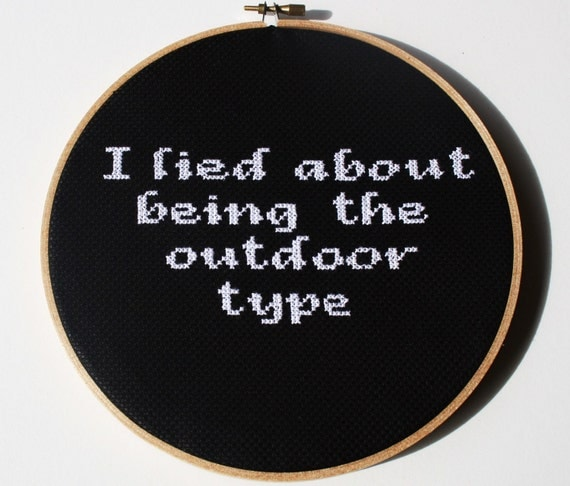 Cross stitch pattern, PDF- I lied about being the outdoor type