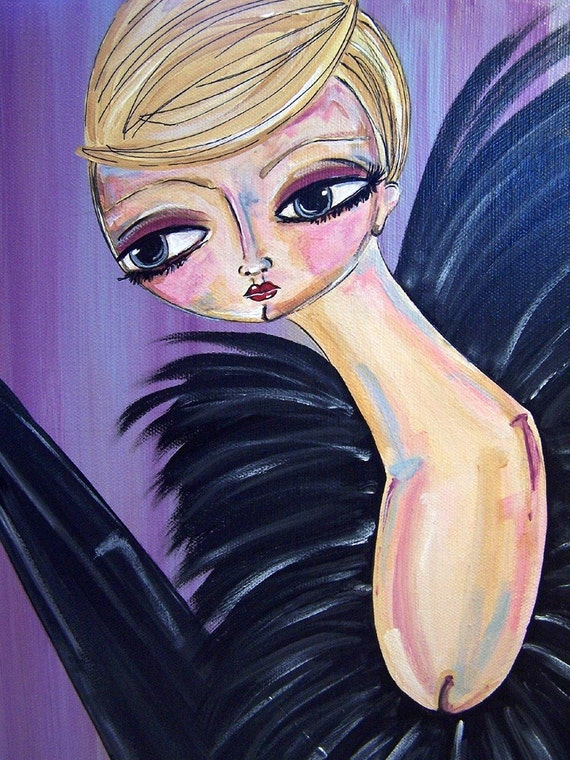 art painting original acrylic chic blonde black feathers