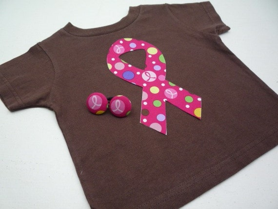 Breast Cancer Awareness Month is October<br>Pink Ribbon Shirt & Ponytail Holders<br>You choose size,