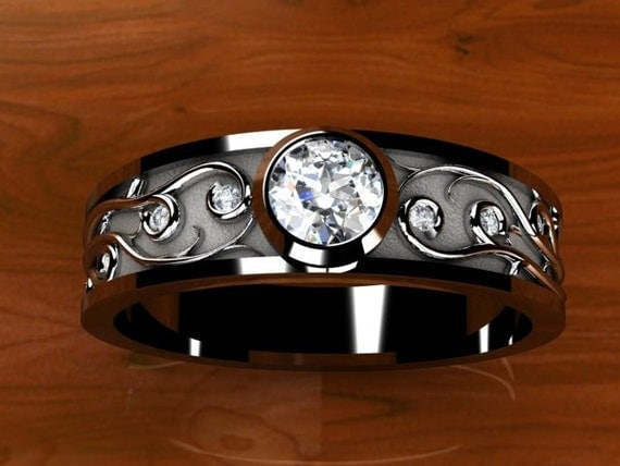 Certified Diamond Custom Vine Work Bezel Set in WhiteGold