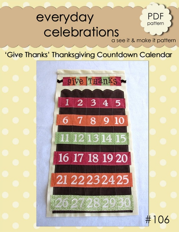 Give Thanks Thanksgiving Countdown Calendar - PDF Pattern