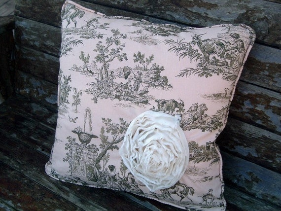Toile Shabby Rose Pillow Cover Corded Zippered