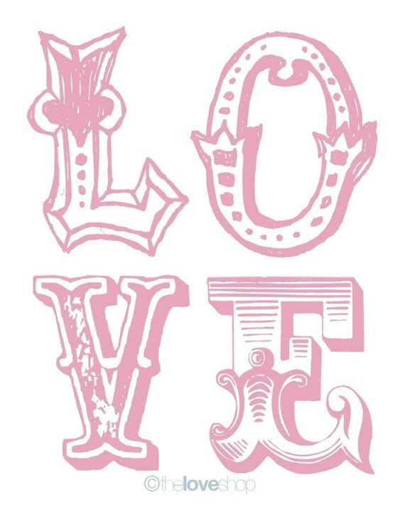 VINTAGE LOVE - Deluxe 8x10 inch Print on A4 (in Sweet Pink)