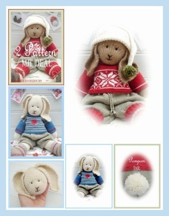 Bo / Oscar/ 2 Toy Pattern MJT Deal /Boy Bunnies /PDF Email Toy Knitting Patterns