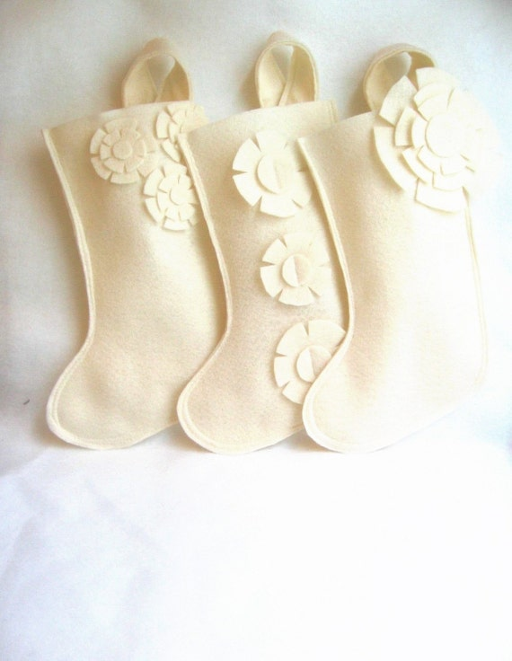 january delivery - ivory cream Christmas stocking in eco friendly felt. you choose the style