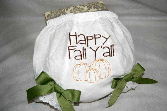 Happy Fall Yall with pumpkins baby infant toddler bloomers