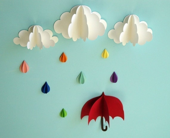 Red Umbrella, Raindrops and Clouds Wall Art/3D Paper Wall Decor