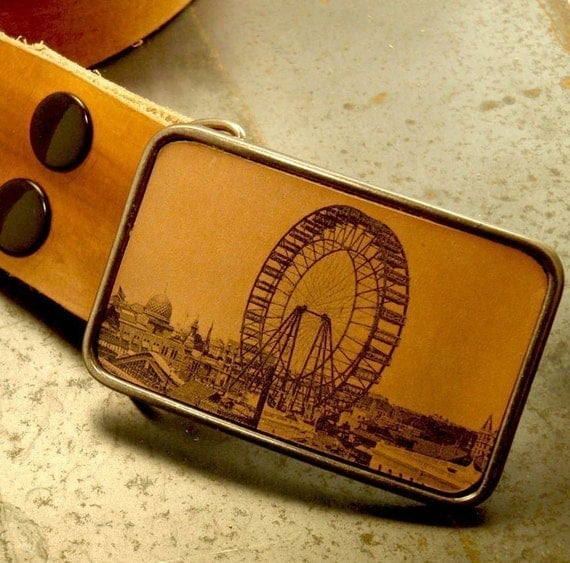 Vintage ferris wheel belt buckle, The flight bound leather belt buckle