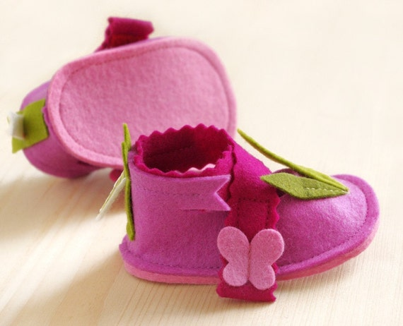 Baby girls pink shoes, LaLa Rose butterflies mary jane house slippers, baby shower gift crib shoes