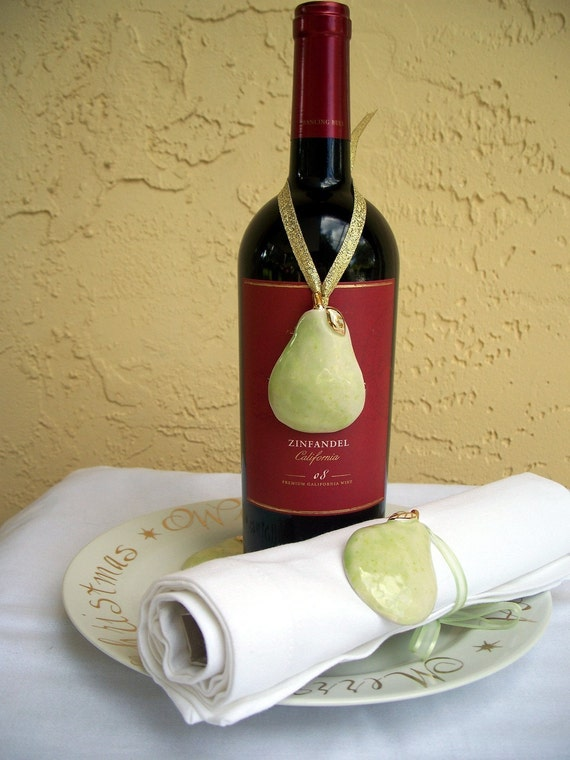 Set of 6 Pear Ornament Wine Tag Napkin Ring