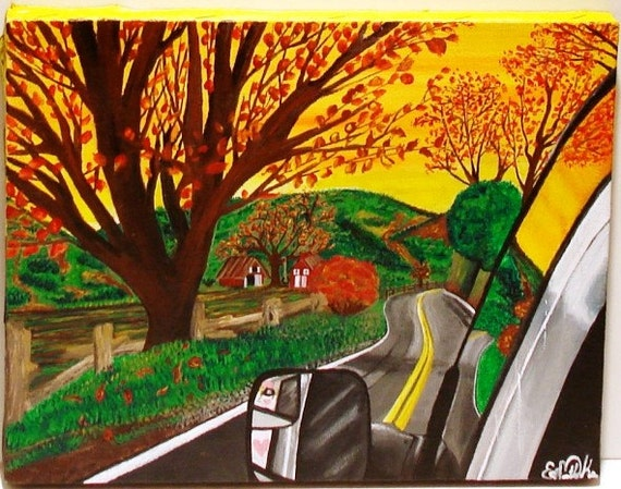 Original Acrylic Painting - Surreal Landscape Titled Road Trip