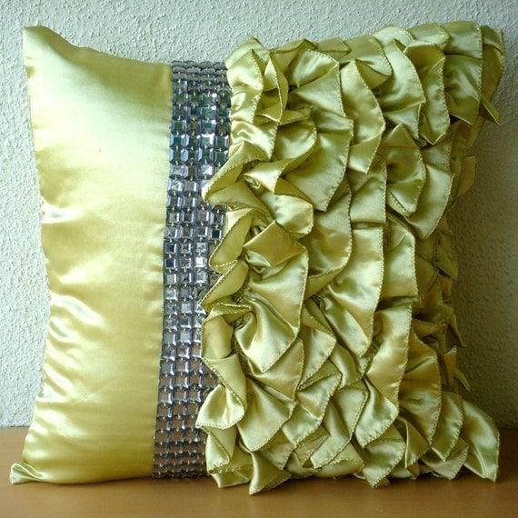 Алмазы N Ruffles - Бросьте наволочки - 16х16 дюймов атласные подушки накрыть Ruffles и кристаллов