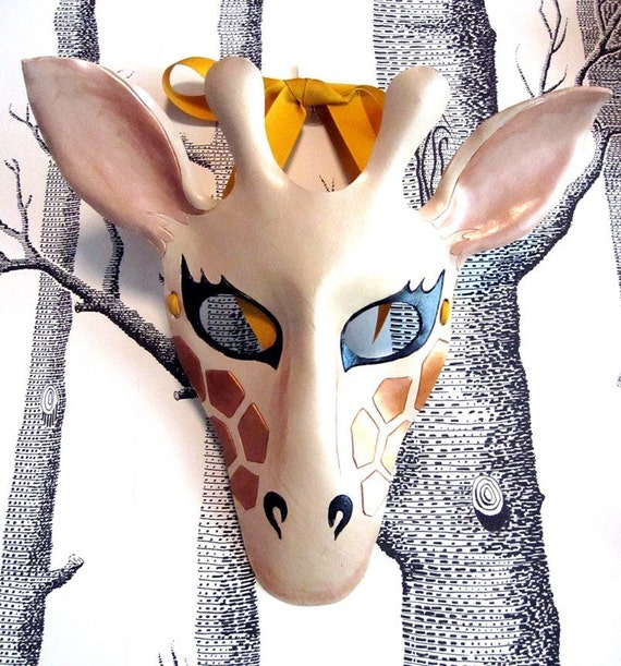 Giraffe Leather Mask, Adult Size - Made to Order
