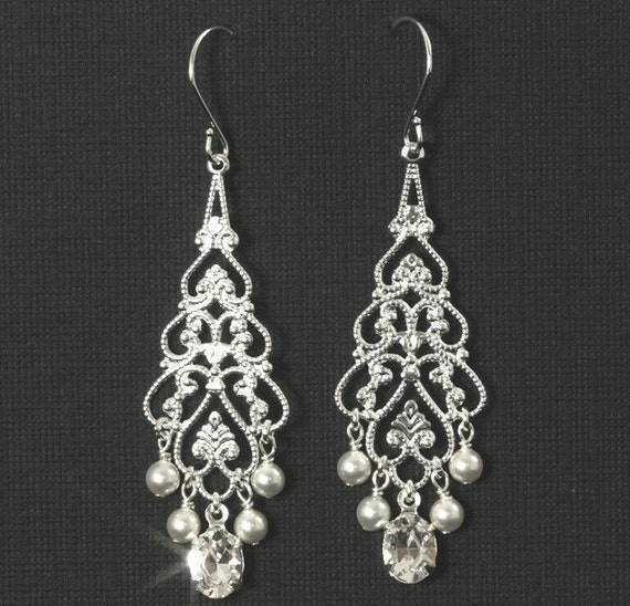 Bridal Chandelier Earrings -- Silver Filigree and Swarovski Crystal Rhinestone and Pearl Chandeliers -- GRAND ENTRANCE