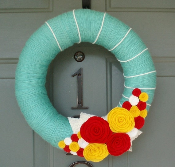 Yarn Wreath Felt Handmade Door Decoration - Bright Blooms 12in