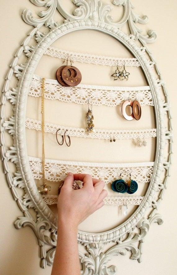 Jewelry Display Repurposed Painted Frame...Vintage Inspired