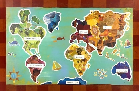 BUY 2 GET 1 FREE World Map Recycled Collage 11x14 Poster