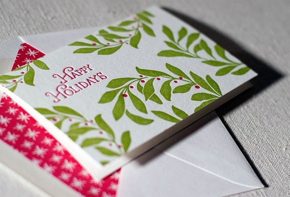 Holly letterpress holiday cards. Bamboo paper. Patterned envelopes. 4D14T
