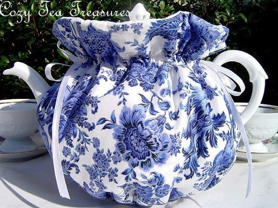 BLUE PORCELAIN Reversible, Insulated 6-8 Cup Teapot Tea Pot Tea Cozy Cosy Also Available in 1-2 Cup and 2-4 Cup Sizes, Upon Request