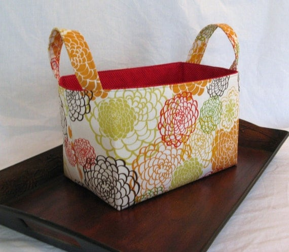 Fabric Storage Bin - Modern Floral Chrysanthemums
