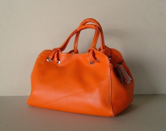 Orange leather handbag / purse / shoulderbag / Candy / tftateam