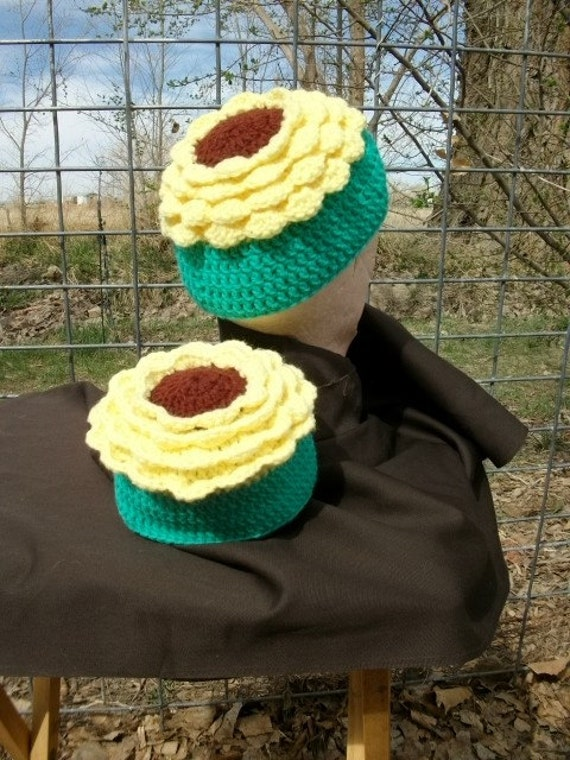 Crochet Beanie Cap Hat Pattern Sunflower Girls Hat PDF PATTERN