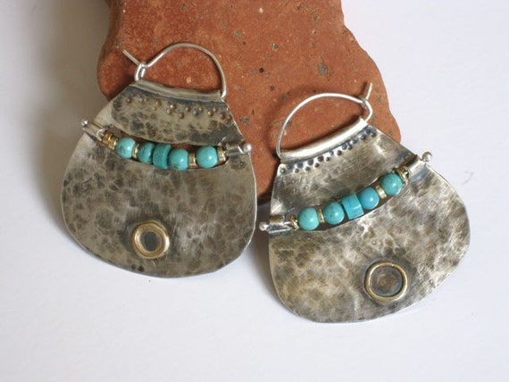 Large Silver Hoop earrings with Turquoise Beads, handmade jewelry design