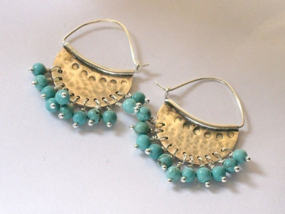 Crescent hoop earrings with turquoise beads - Handmade sterling silver jewelry