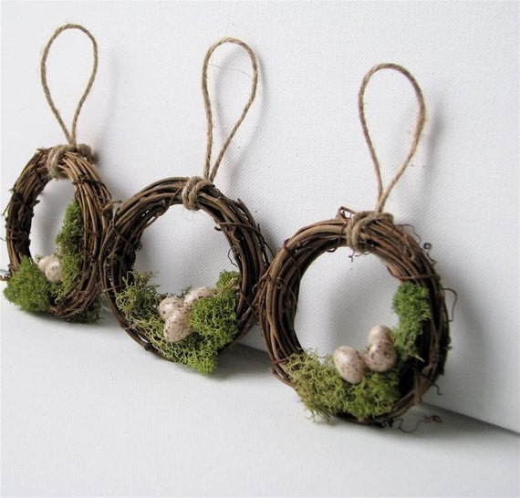 Woodland Mossy Bird Nest Wreath Ornaments, Set of 3