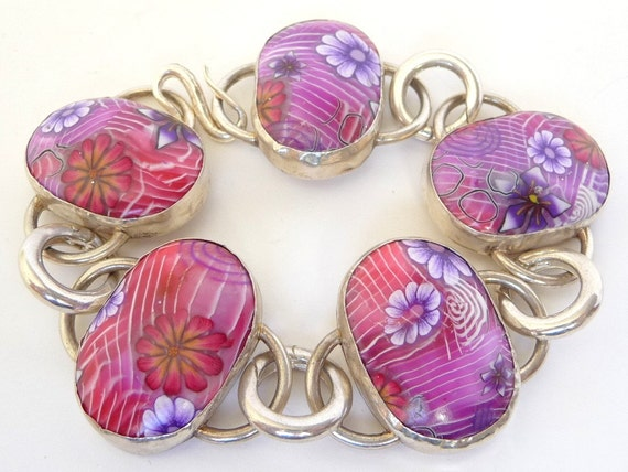 Sterling Silver Flower Bracelet : Polymer Clay Pink Purple