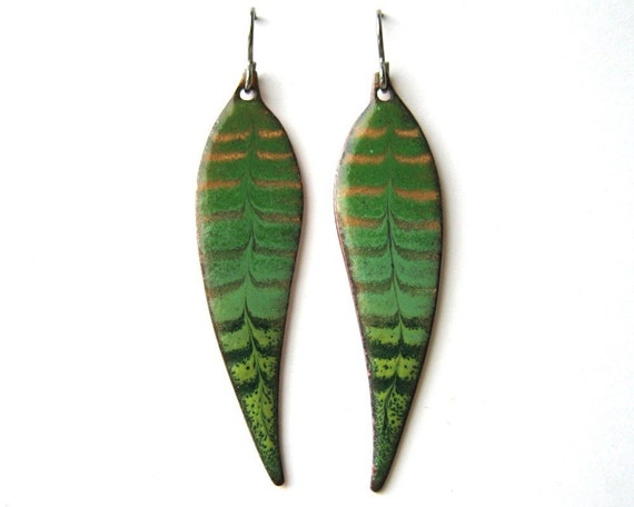 Green leaf earrings - Copper enamel earrings dangle from titanium earring hooks