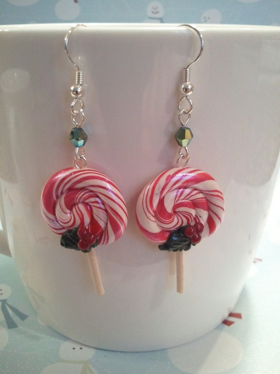 Candy Cane Lollipop Earrings