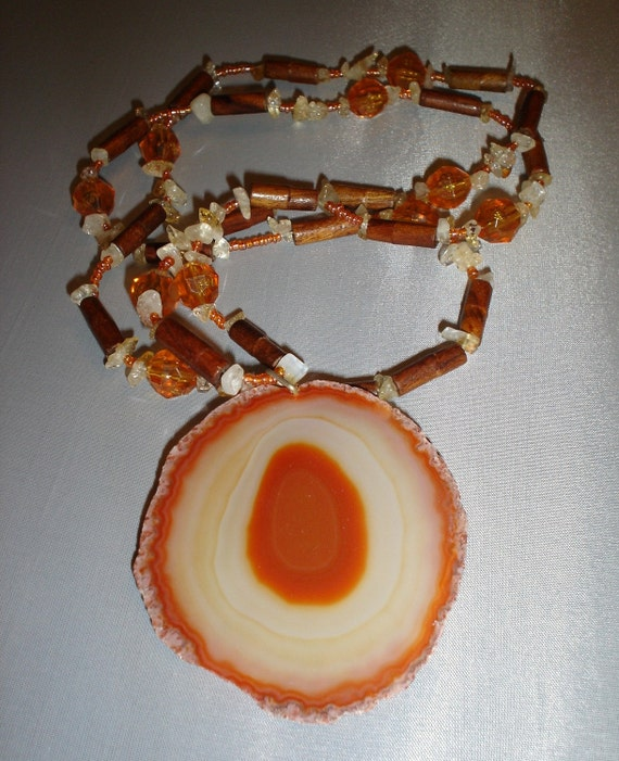 RICHARME Orange Turkish Agate long necklace