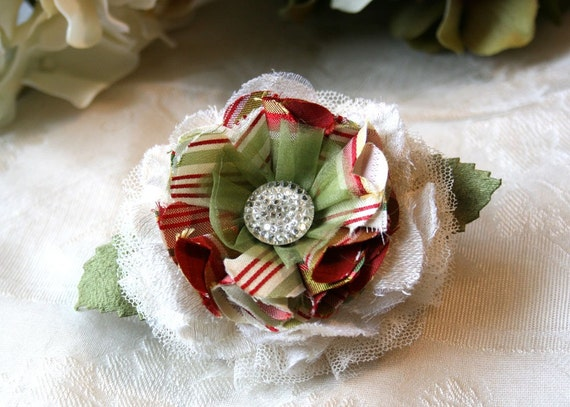 Christmas Hair Barrette Flower Fascinator in Candy Apple Red, Ivory and Light Green