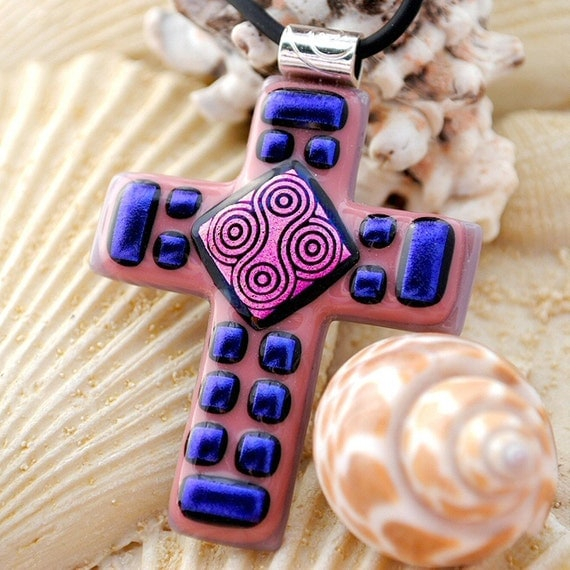Shades of Pink & Purple -- Large Dichroic Fused Glass Cross Pendant (Item 10033-PC)