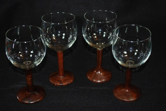 Claro Walnut Handmade Stemware, Red / Burgundy Wine Glasses, 2 for 30, STEM-132