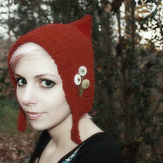 Pixie Hat - Red Pixie Hat - Pixie Hood - With Buttons - Elf Hat - Costume