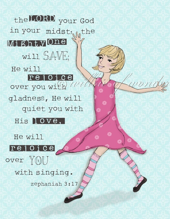 Zephaniah Girl - bright pink dress & blond hair - scripture art print