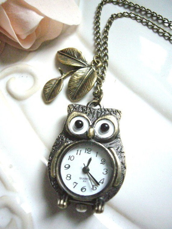 Owl Watch Necklace- Leaf and Hoots