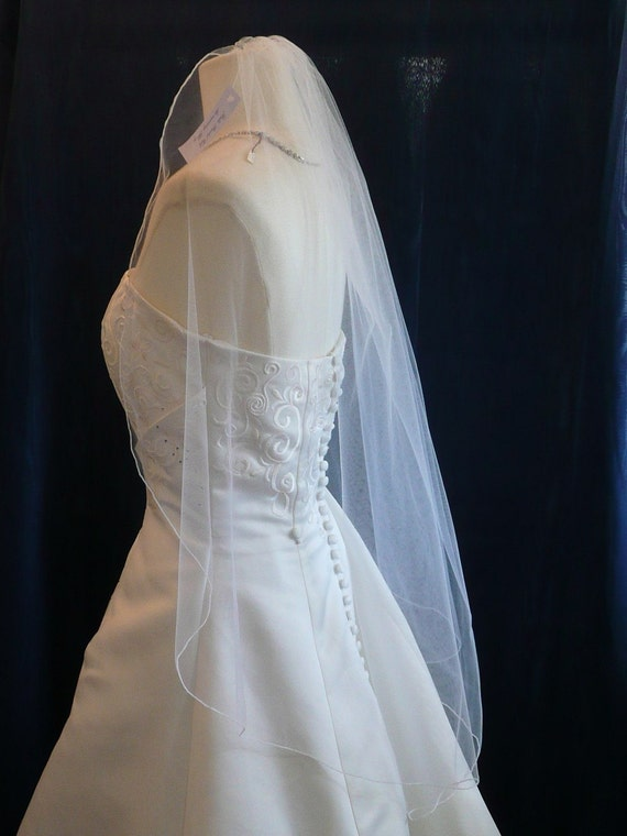 Wedding veils, bridal veils  Ivory fingertip length Angel Cut Veil Pencil Edge Perfectly Elegant and Flowing