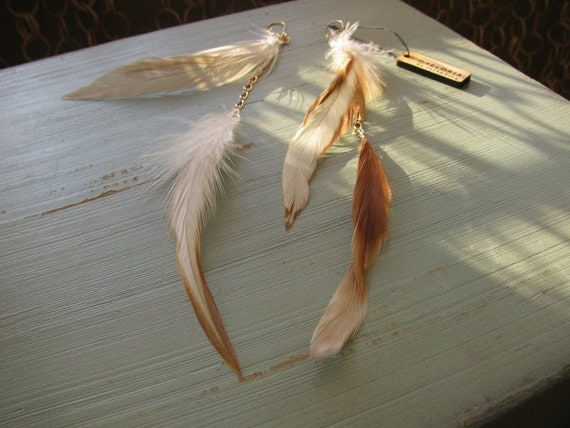 Long feather earrings and chain- Autumn natural colors - Vuela