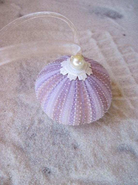 Keepsake Beach Wedding Ornament Sweet Lavender with Pearl