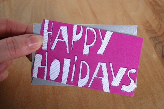 Happy Holidays - pink mini card