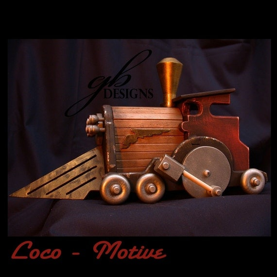 Dark Carnival Steampunk Loco-Motive Wooden Toy Engine (Fully painted version)