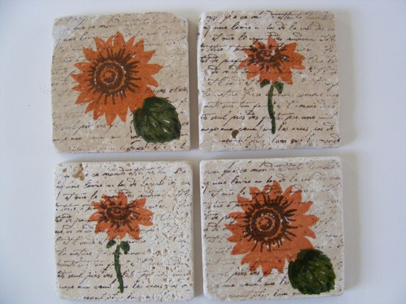 Orange Sunflower Coasters Travertine Tile  - Set of 4 - Perfect for Hot or Cold Beverages and Makes a Great Gift