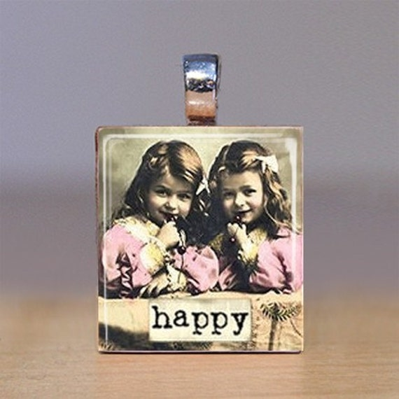 Handmade Scrabble Tile Pendant - Words 18 - Happy